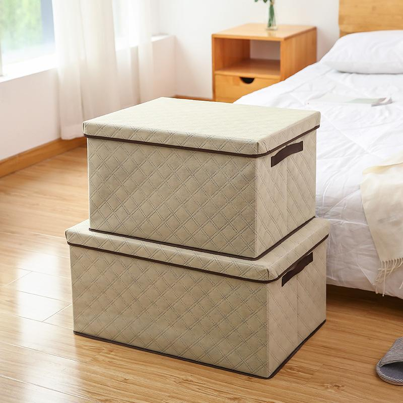 Large-capacity Storage Box with Lid Foldable Clothes Storage Box Washable Non-woven Household Multifunctional Storage Container