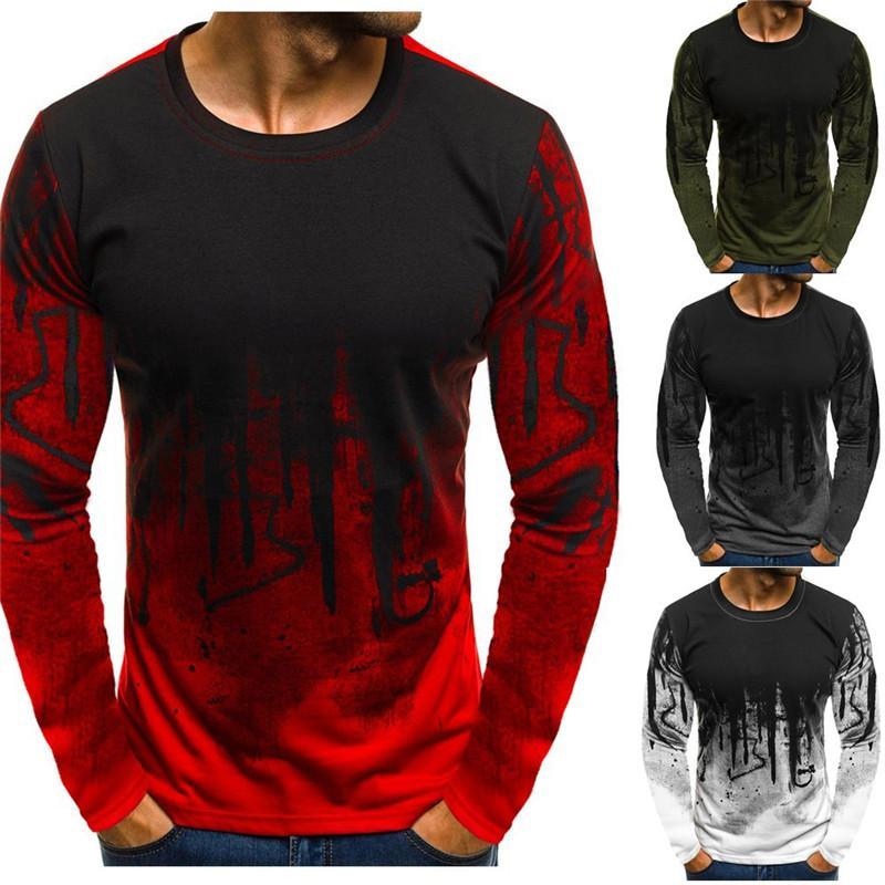 3D Impresso Mens Designer camisetas Contraste Cor Casual solta Manga comprida Crew Neck pulôver camisetas Moda Mens Tees