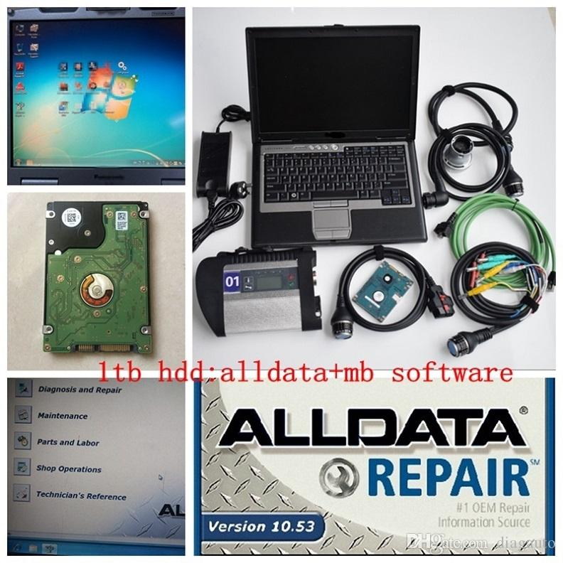 2019 super mb star c4 and alldata 10.53 soft-ware in hdd 1tb with laptop D630 star diagnose for 12v 24v ready to work