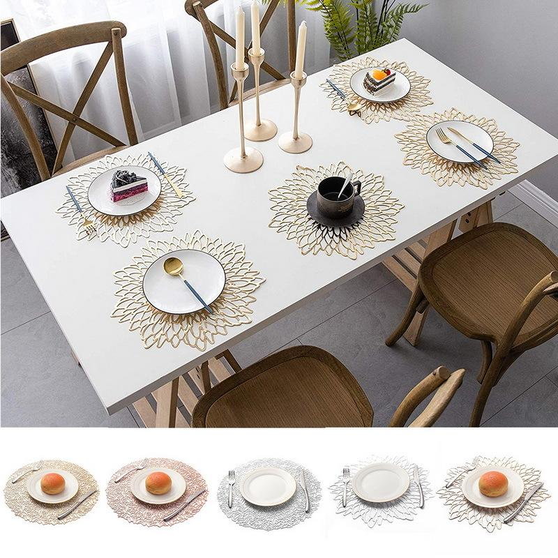 Placemats For Kitchen Table PVC Round Coaster Pads Insulation Table Placemat Non-slip Mats Western Mat New T200703