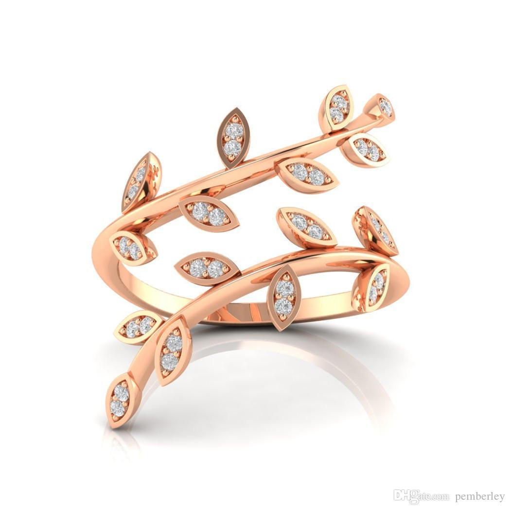 R519 luxus Ringe schmuck weiblichen Neuen Stil dünne rose gold zweig Ringe Für Frauen gold Farbe weiß rystal blätter