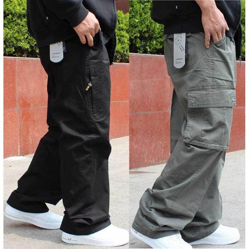 Tamanho grande calças cargo Homens Hip Hop Harem Calças Casual solta Baggy perna larga Calças Pockets Masculino Vestuário T200415