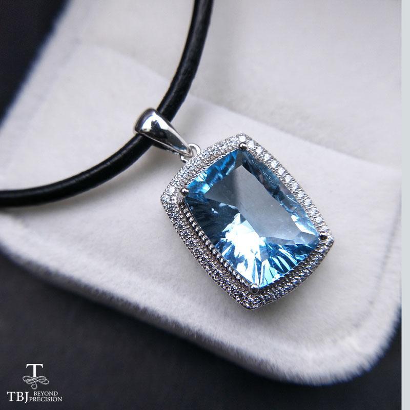 TBJ ,Big 8.5 sky blue topaz cu10*14 pendants,Simple and valuable design,Big natural gemstone pendants with cord
