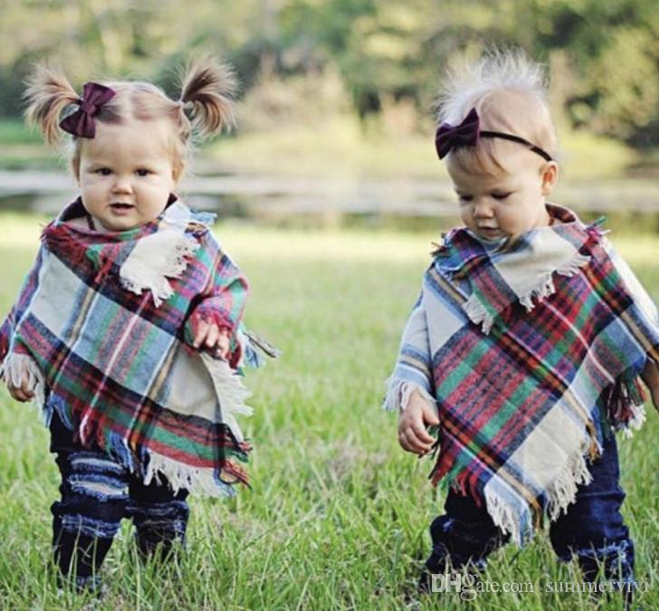Girls plaid poncho fashion kids colorful lattice tassel shawl tops baby scarf children poncho outwear baby girls princess capes F9520