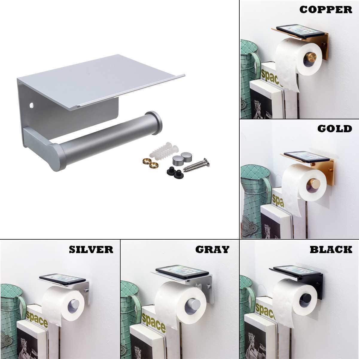 Raf Havluluk Siyah Y200506 ile Kağıt Tutucular Banyo Aksesuarları Tuvalet WC Kağıt Tutucu Cep Telefonu Rulo Tutucu