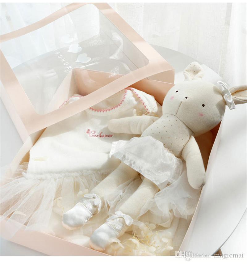 8 Шт. Новорожденных Детская Одежда Набор Одежда Prewalker Ползунки Носки Кролик Игрушка Набор Детская Подарочная Коробка Принцесса Девочка День Рождения Душ Подарок Идея