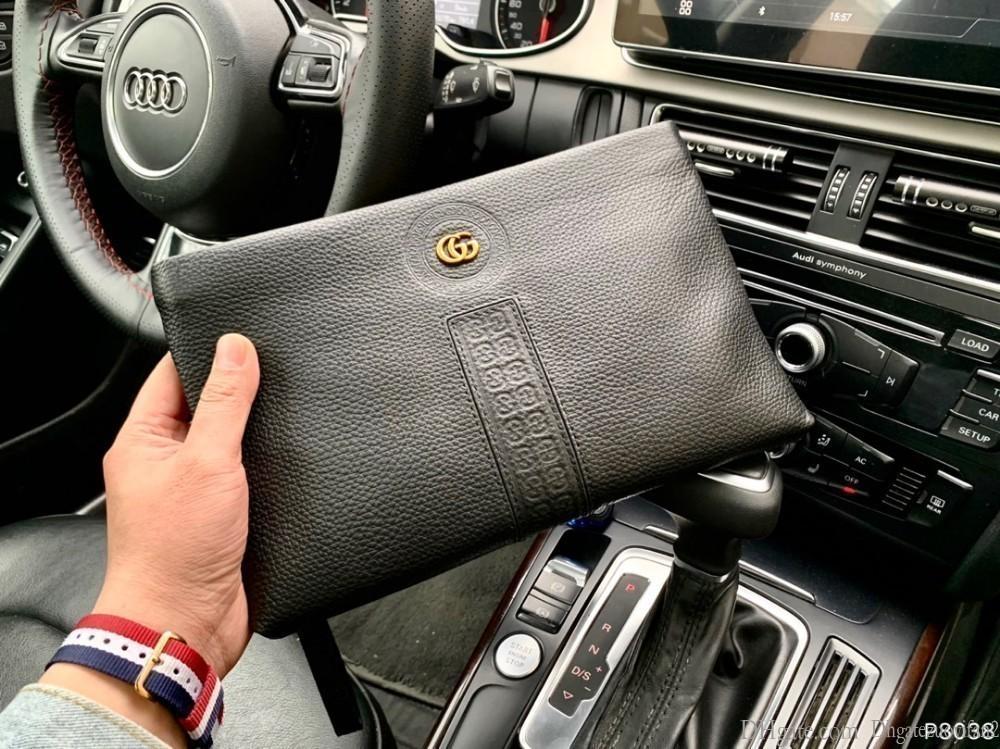 2019 Limitada novo envio gratuito de alta qualidade produtos Saco de embreagem moda high-end de couro preto de