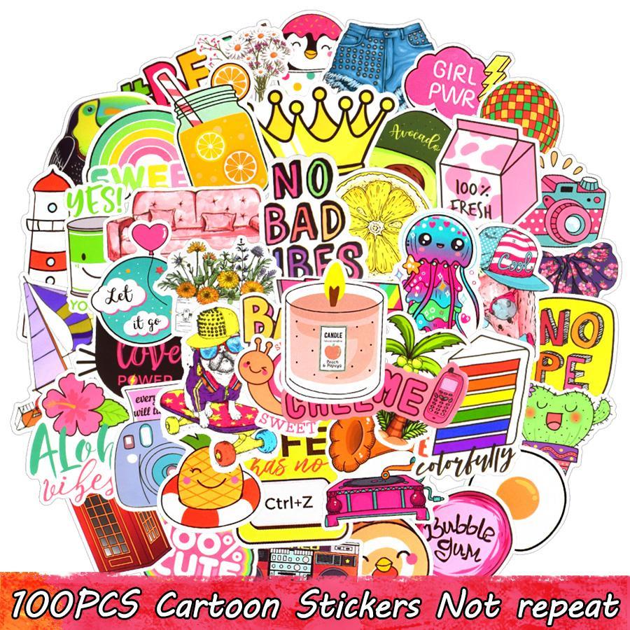 100 stücke kawaii wasserdicht vsco mädchen vinyl aufkleber bombe wasserflasche laptop telefon gepäck koffer motorrad auto für mädchen teenageraum diy