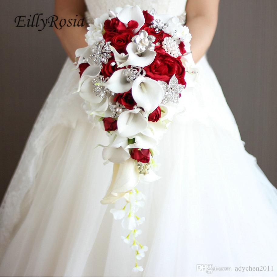 Wasserfall Hochzeitsstrauß Brautschmuck Kristall Calla Lily Brautsträuße Künstliche Blumen Rot Royal Blue White Brautjungfer Bouquets