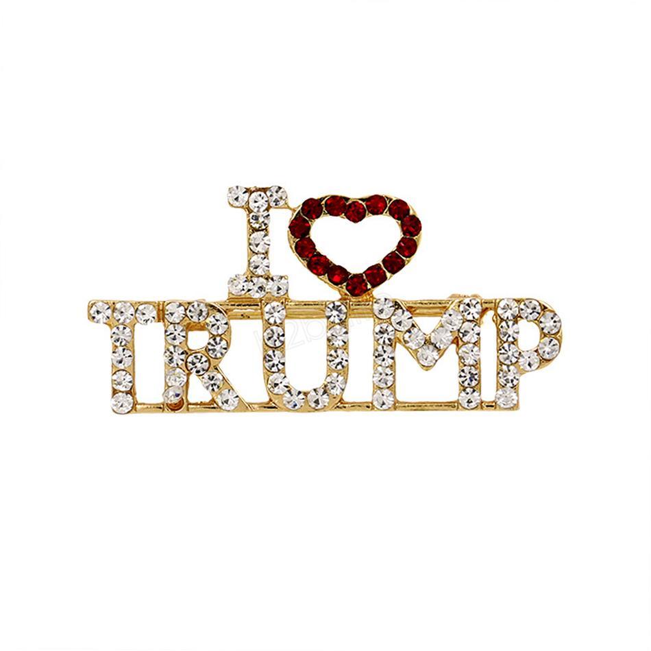 Я люблю Трамп Брошь Булавки Горный Хорбус Письмо Брюки Броши Женщины Мода Сердце Булавки Party Fority Подарки LJJA2872