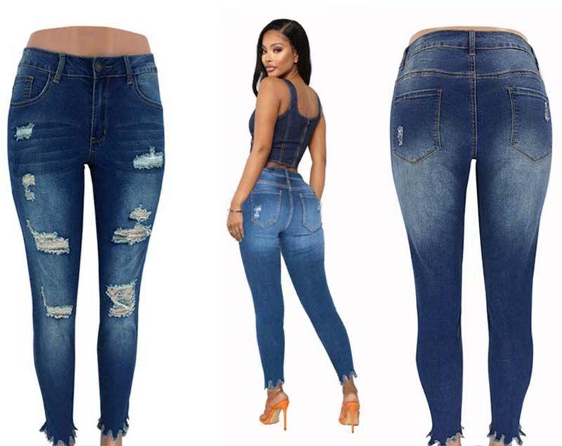 Yüksek Kalite Ücretsiz Kargo güncellenen Kadınlar Casual Jeans Ripped Diz Delikler Ağartılmış Sctrached Püskül Denim Pantolon İnce Bayan Fit Uzun Pantolon