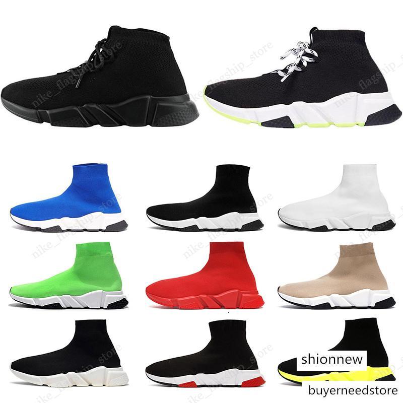 Tasarımcı Paris gündelik çorap Ayakkabı Siyah Beyaz Hız Eğitmen Chaussures Siyah Kırmızı Üçlü Siyah Marka Çorap Eğitmen spor spor ayakkabılarını ayağına