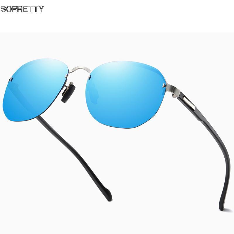 2020 New Randlos Runde polarisierten Sonnenbrillen für Männer Frauen, Blau-Spiegel-Objektiv TR90 Leg UV400 Schutz Sonnenbrillen S608