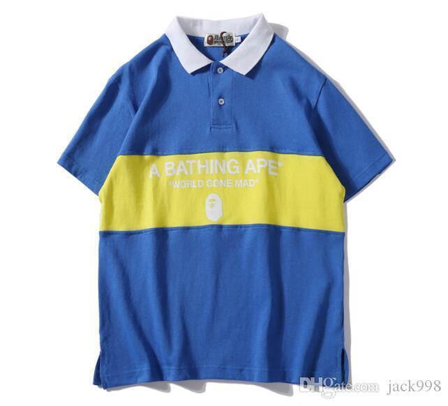 Mens Designer Camisetas Um Macacão De Banho T-shirt Pullover Camisa Polo Das Mulheres Dos Homens Camisa de Tubarão Roupas de Impressão Casual