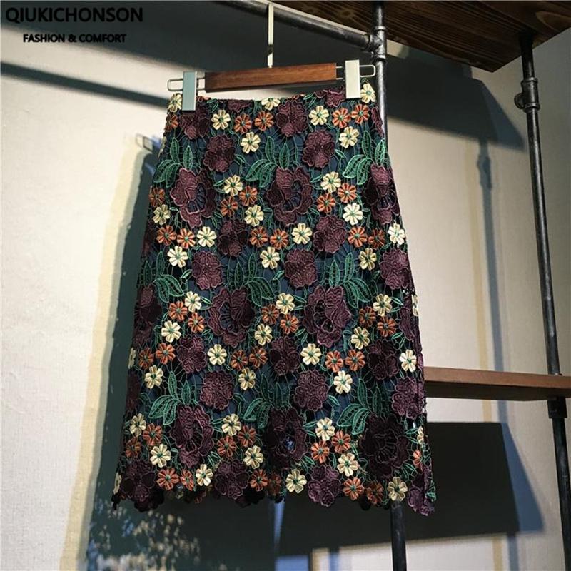 Pencil Skirt Women 2020 High Waist Summer Crochet Lace Mini skirts Vintage Embroidery Floral Flower Skirt gonna tulle