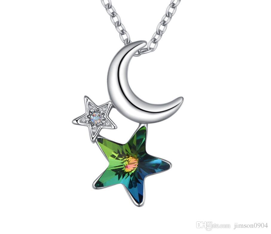 Made in China fashion jewelry Woman Originality Ornaments Swarovski Elemental Crystal Necklace Star and moon color delicate Pendant Design