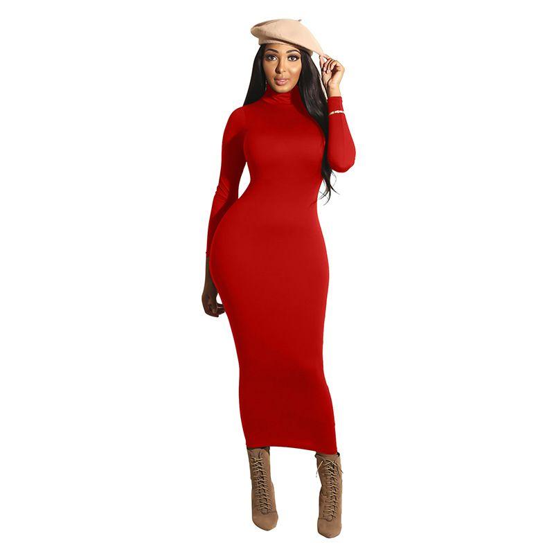 Fashion-Winter Soft Cotton Stretch Black Party Dresses Plus Size Skinny Sexy Club Wear Gorgeous Warm Bandage Bodycon Dress