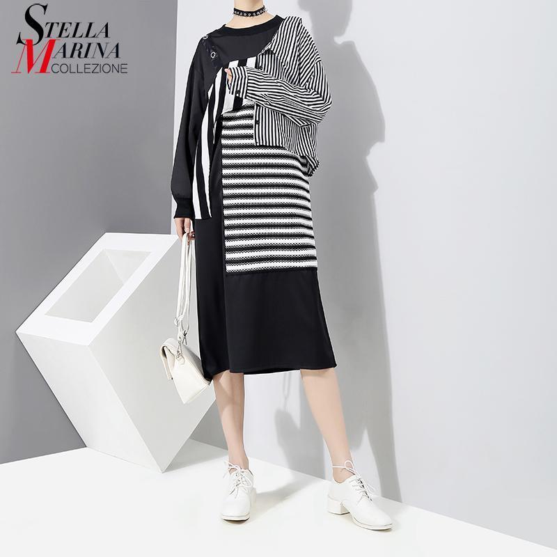 New 2018 Korean Patchwork Style Women Black Striped Dress Long Sleeve Knee Length Girls Evening Nigh Party Dress Club Wear 3254