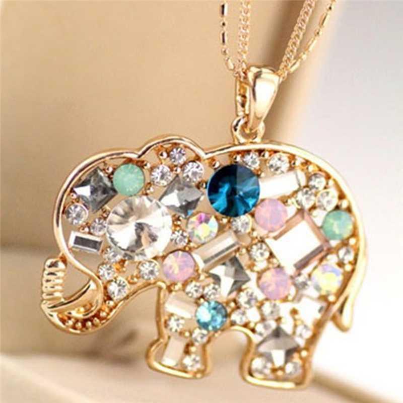Glück schöner Elefant langen Strickjacke-Halskette Lange-Kette Modeschmuck Kristall Halskette Anhänger Halskette 70 cm für Frauen
