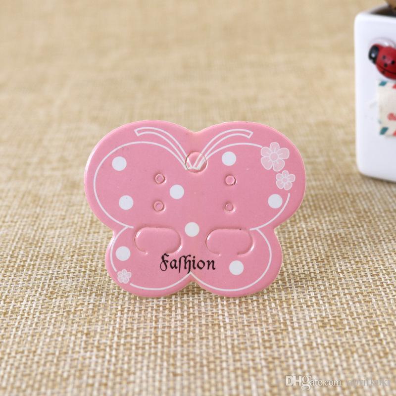 جديد 5 * 4 سنتيمتر الوردي فراشة الأذن مربط مجوهرات عرض بطاقة منظم diy اليدوية القرط مربط بطاقة التعبئة