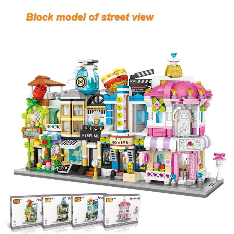 4 sets Mini Street View Building Blocks Children's Toys Small Particles Blocks ABS Toy Bricks Educational Toys Kid's Model Building Kits
