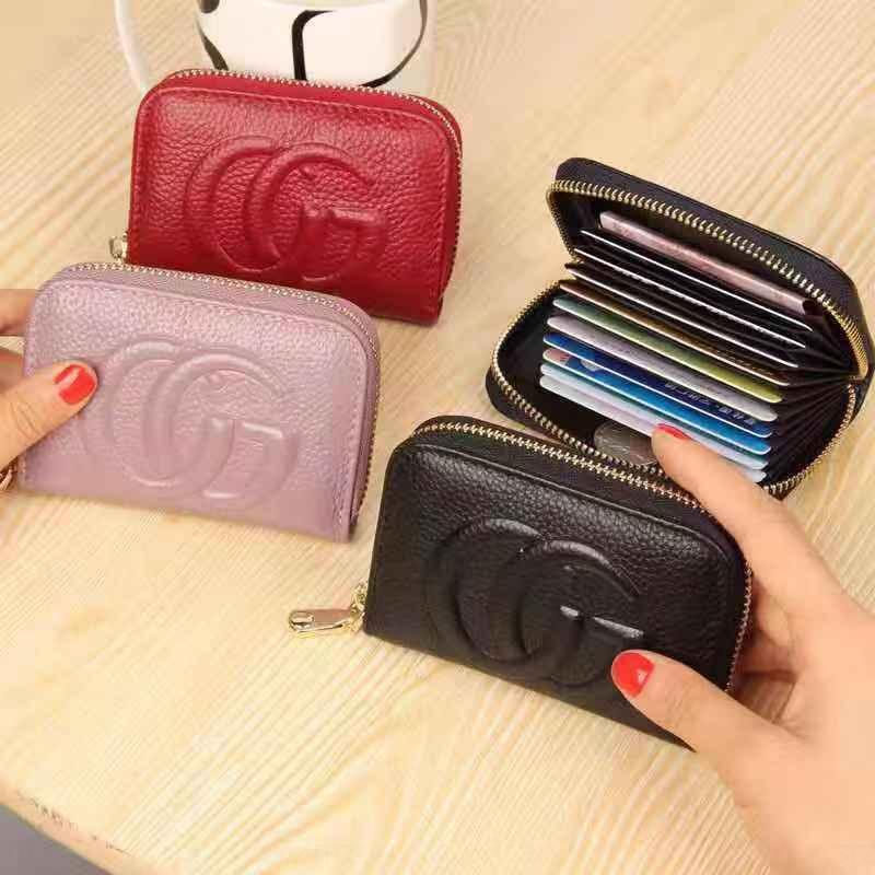 New bag layer cowhide women's wallet bag organ holder coin purse multi-card card first zipper small wallet rprBB