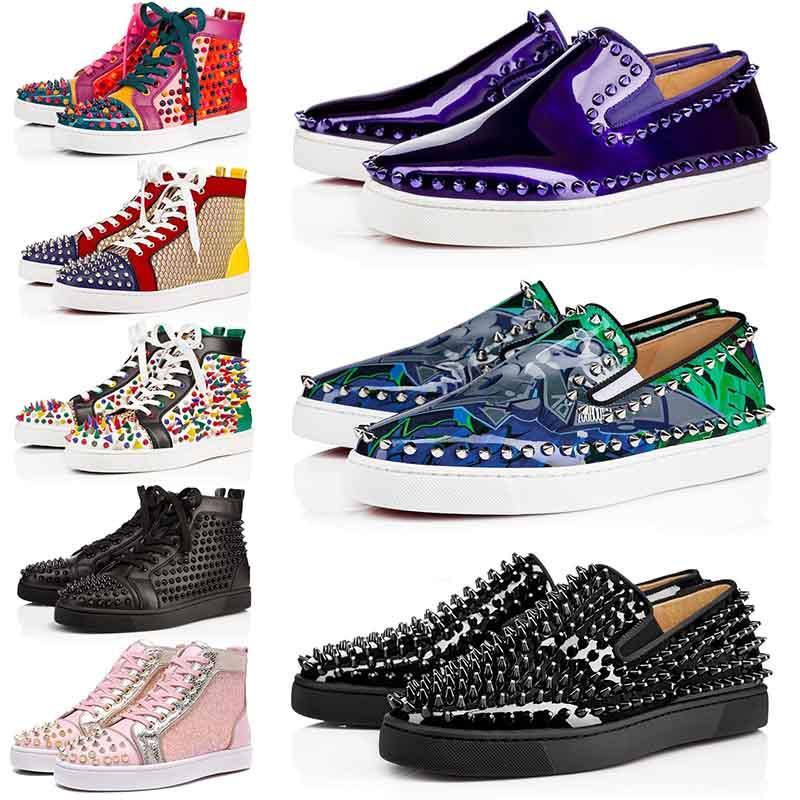 ACE cuero de diseño de lujo inferiores del rojo zapatos para hombre de alta tachonado clava los amantes del partido Plataforma escotado originales de las zapatillas de deporte de los zapatos ocasionales Woemens