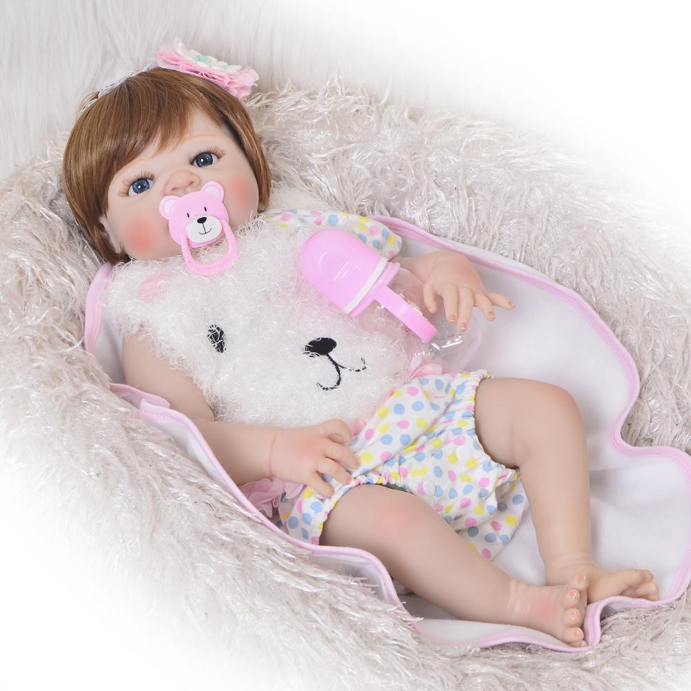 KEIUMI 23 pouces Réincarné Baby Girl Doll pleine silicone vinyle bébé reborn réaliste Princesse bébé Toy Doll pour la Fête des enfants CX200609