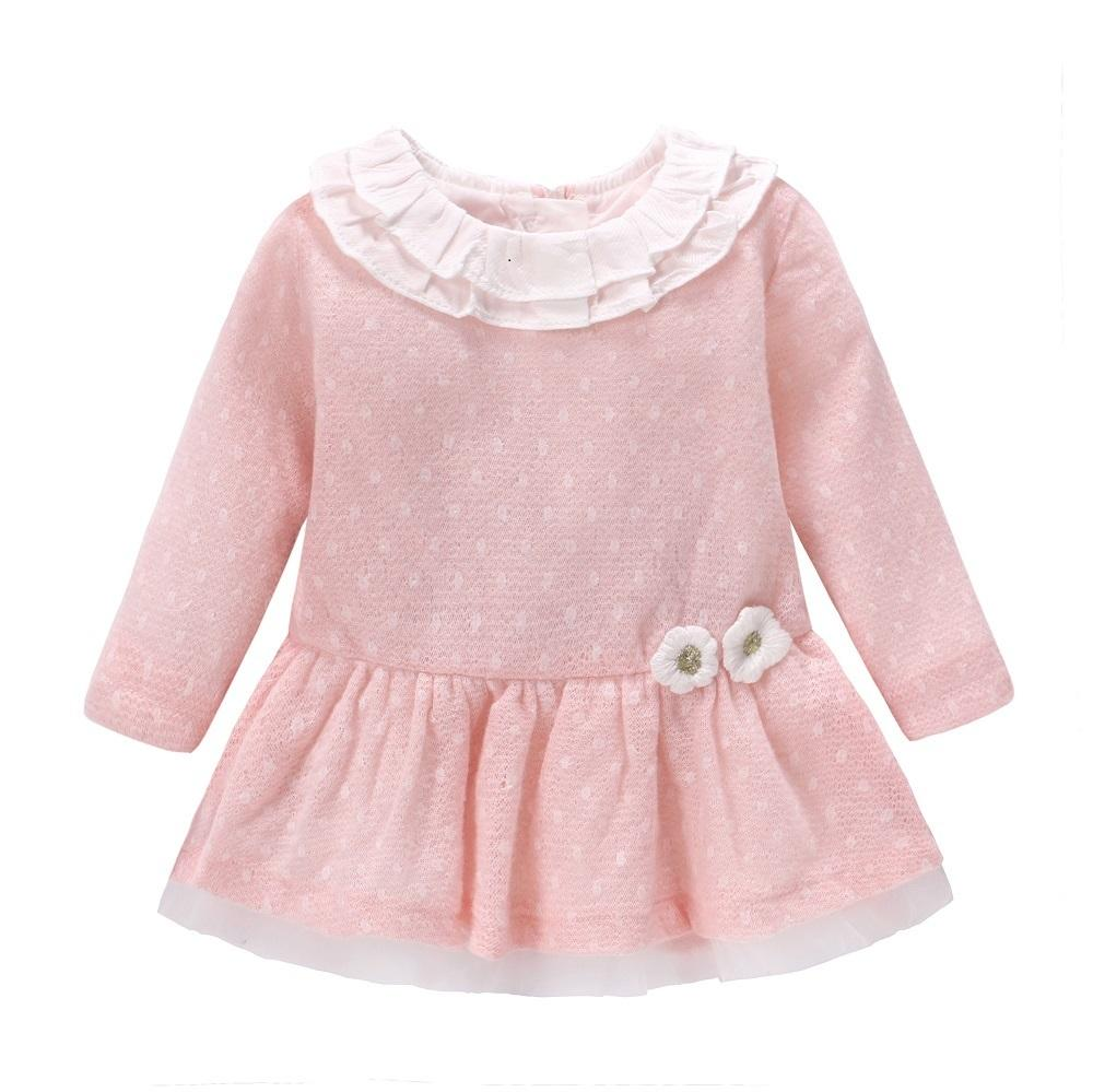 New 2018 Baby Girls Dress Wool Knit Crochet Dress Spring Autumn Cute Dress Newborn Clothing Cartoon Long Sleeve Infant Dresses J190506