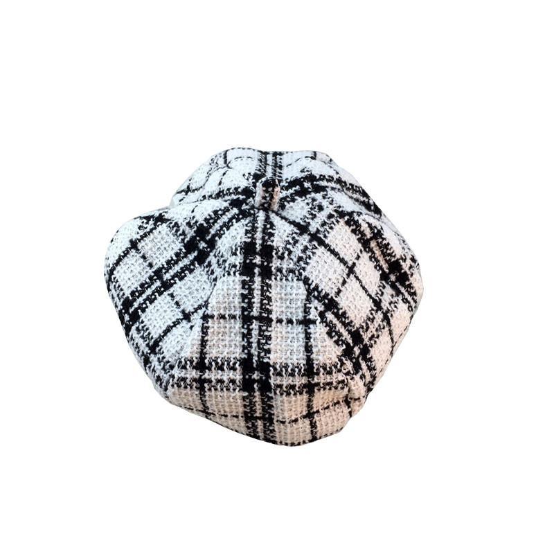 Nero Bianco Tweed Plaid Hat donne inverno Berretto cappelli di feltro per le donne Vintage Warm 2styles Spesso ottagonale Cap