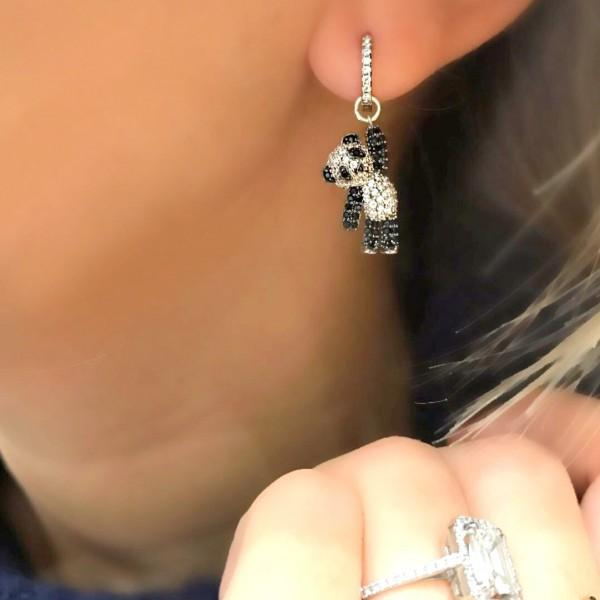 Wholesale-jewelry lovely cute animal charm dangle earring micro pave cz black white dog bear charm adorable earrings