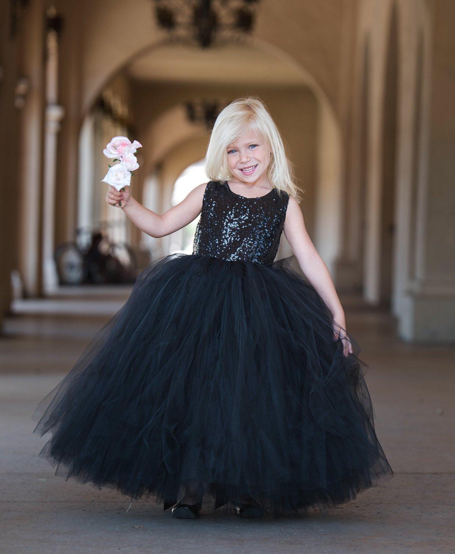 2020 Belle Distant rêve robe de bal robe fille fleur en noir avec le noir Sequin Tulle jupe d'anniversaire d'enfants enfants filles Robes fleurs