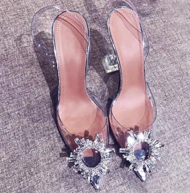 Hot vendita dei pattini-Strass punta tacchi alti Crystal Clear tacco laccio dietro pompe tacco sandalo