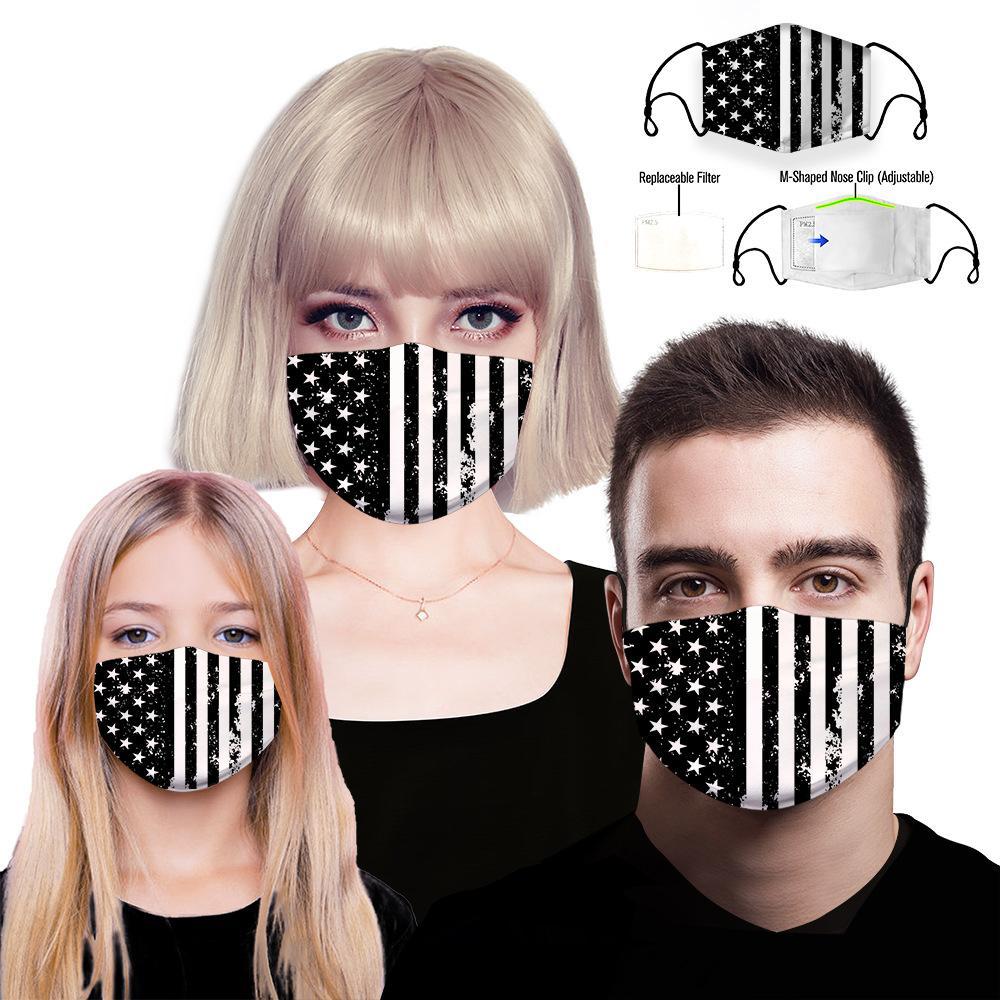 Diseñador de la máscara facial de lujo, mascarillas contra el polvo de tela con filtro reemplazable PM2.5 algodón lavable Máscaras reutilizables máscara de patrón de la bandera de la boca