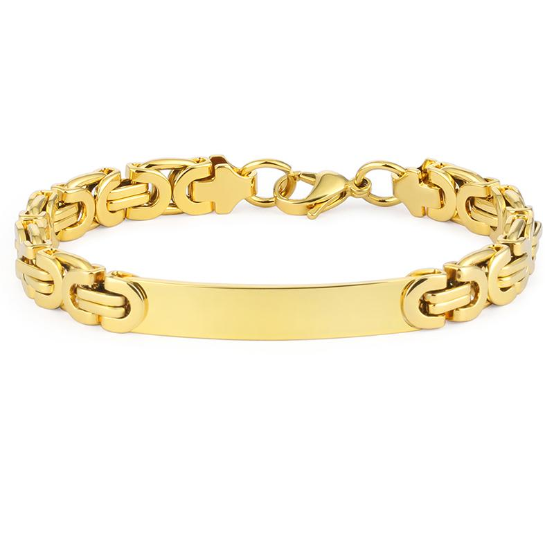 عالية الجودة الرجال الهيب هوب سوار الفولاذ المقاوم للصدأ شقة سلسلة البيزنطية أساور روك مجوهرات الشرير بنين 220MM بالجملة (8.7inch)