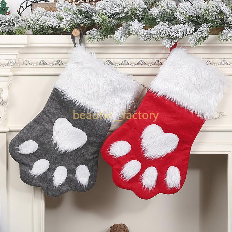 Chloming stocking chaussettes sac de cadeau de bonbons sac mignon chien patte décorations de la patte de noël arbre suspendu décoration rouge ou gris