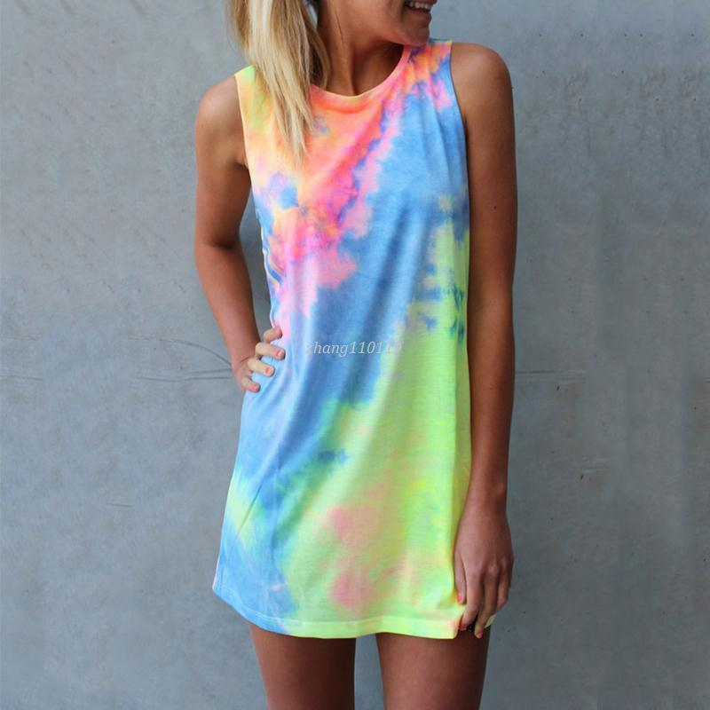 Summer Women Tie-dye Print Rainbow Tank Dress Beach Clubwear Shirt Shift Mini Dresses Casual Sleeveless Sundress Blusas Tops