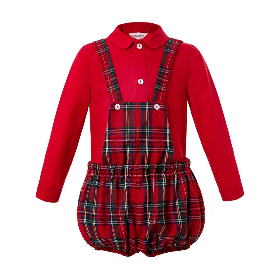 Pettigirl Christmas Boy Clothing Sets Boys Red Shirt+Grid Suspenders Pants Fall Kids Party Costumes Baby Outfits B-DMCS208-244