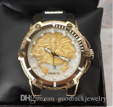 Vender Hot grande tamanho Qualidade do dragão do estilo chinês invicta pulseira de borracha relogies relógio Mens Watch de pulso de quartzo para homens presente free shopping