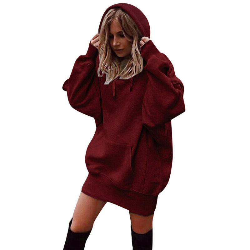 Warm lose Solid Color Langarm-Tops Maxi-Frauen Hoodies täglich mit Pocket-beiläufige Art und Weise Herbst-Winter-Baumwollmischung