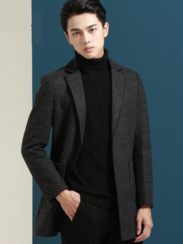 Lana de los hombres mezcla de alta calidad para hombre invierno chaqueta de chaqueta clásica sobre abrigo de la cubierta del hombre con la zanja de la cubierta del hombre M L XL XXL XXXL 4XL