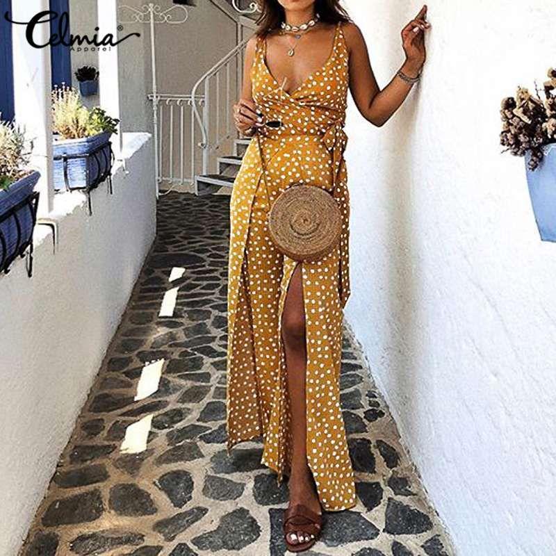 Alta Slit fatos para brincar 2020 New Celmia Mulheres Suspender Sexy Summer Correias longo macacões Dot elegante do vintage macacãozinho Belted