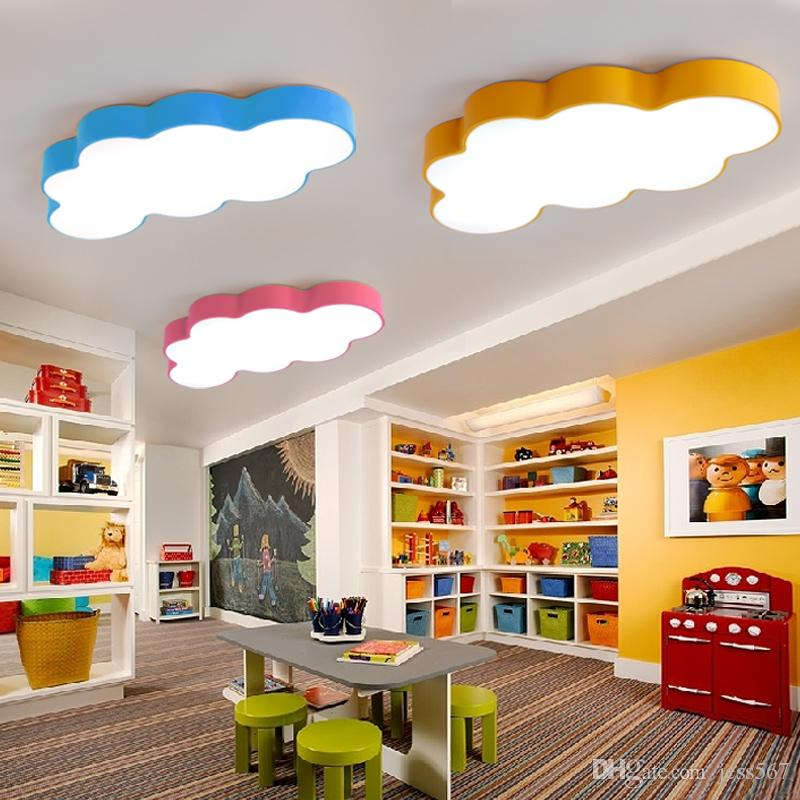 LED Cloud Ceiling Lights Iron Lampshade Luminaire Ceiling Lamp Children  Baby Kids Bedroom Light Fixtures Colorful Lighting Light110`260V Hanging ...