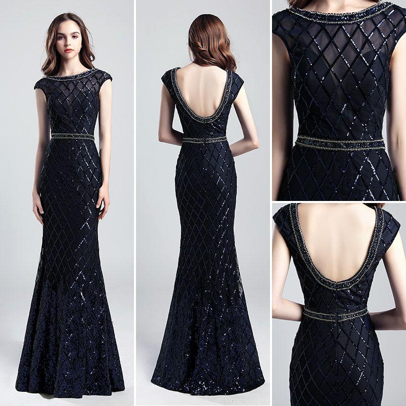 Luxury blingbling Navy blue Mermaid Evening Dresses Wear yousef aljasmi Fashion Scoop Neck cape sleeve backless arabic Prom Formal Gowns