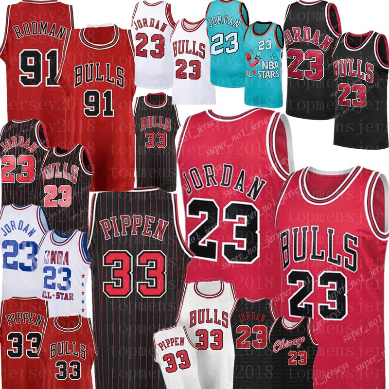 NCAA 33 Scottie Pippen MJ 23 Michael Bull Jersey 91 Dennis Rodman Basketball Jerseys College-Universität MJ Retro Mesh-Jersey