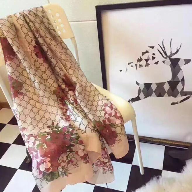 Хорошее качество классический бренд 100%шелковый шарф для женщин новый весенний дизайнер цветочный цветок длинные шарфы шарфы обернуть с тегом 180x90 см Шали z23