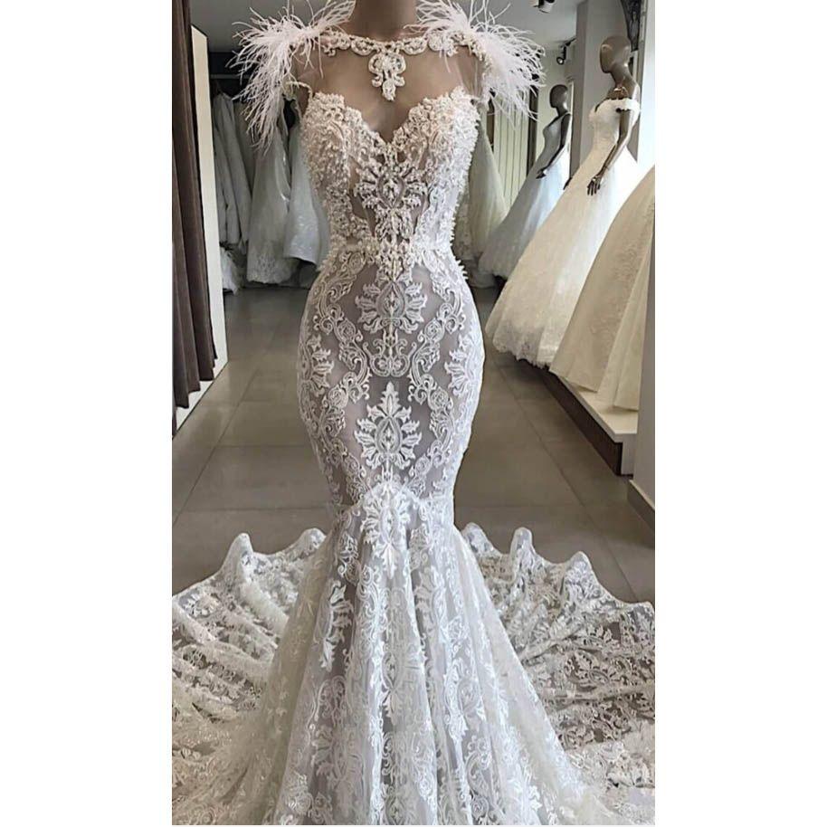 2020 New Fashion Mermaid Lace Wedding Dresses Tassels Art Deco