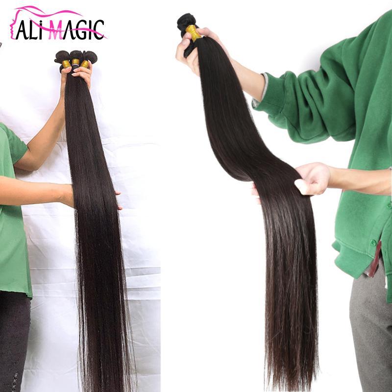 Cuticle Aligned Hair 30 32 34 36 38 40 Inch Bundles 100% Remy Virgin Human Hair Bundles Natural Black 100g/bundle Factory Price