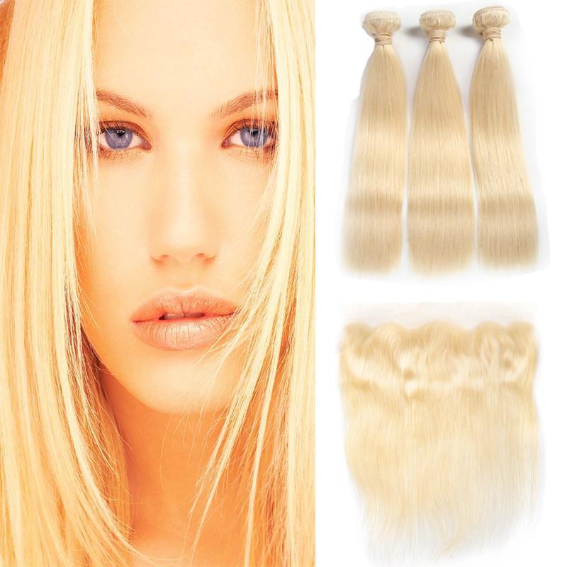 Cabelo 8a Virgin brasileiro # 613 Blond 3 Pacotes com frontal Encerramento Top Lace frontal e Pacotes de seda reta Pacotes cabelo e frontal