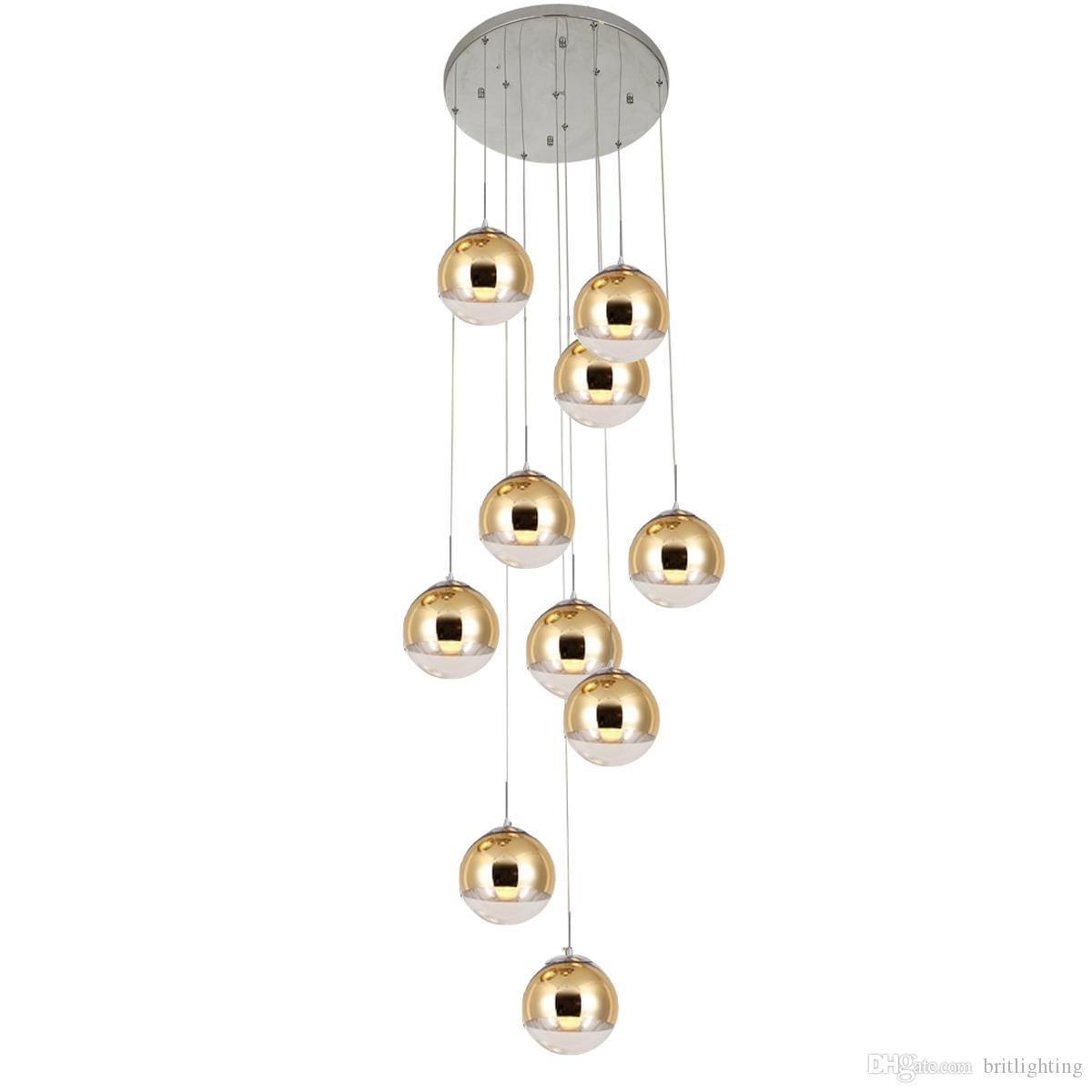 Spiral Merdiven Aydınlatma Uzun Sarkıt Oturma Odası Cam Top Kolye Işıkları Yemek Odası Asılı Lamba Işıkları Doğrusal Tavan Işıkları